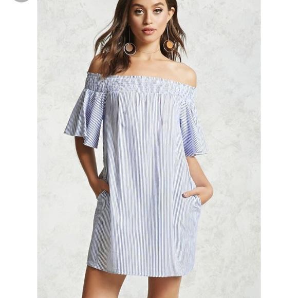 3ac8192fb3e1 Forever 21 Dresses   Skirts - Off the Shoulder Stripped Dress